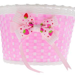 Koszyk dziecięcy plastikowy różowy z kokardką