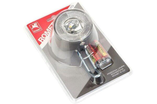 Lampa przednia 1-LED bater. na widelec czarna mod.R-107  ROMET