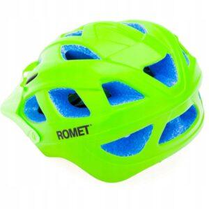 Kask rowerowy dziecięcy Romet 509-1 zielony mat z daszkiem