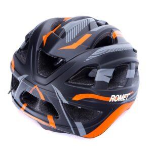 Kask rowerowy dziecięcy ROMET 509 szaro pomarańczowy mat